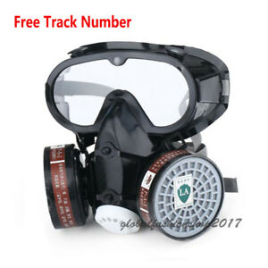 Respirator Gas Mask Safety Chemical Filter Military Eye Goggle Set