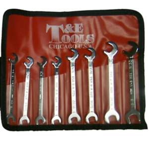 T e Tools 8 Piece Sae Open End Ignition Wrench Set 5580 New