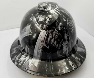 Full Brim Hard Hat Custom Hydro Dipped Silver N Black Grim Reaper Skull Sick