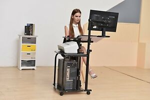 Compact Workstation Cart Computer Student Mobile Contemporary Desk