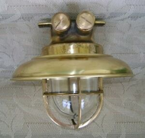 Multi Use Cast Brass Ceiling Light With Brass Cover Original Salvage X