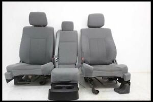 2012 2014 Ford F150 Pickup Truck Front Grey Cloth Bucket Seats Console