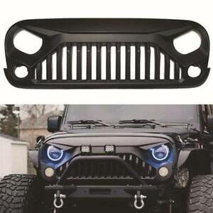 For 07 18 Jeep Wrangler Jk Aggressive Angry Bird Matt Black Front Grill Grille