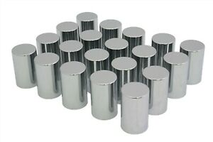 33mm Chrome Lug Nut Covers 20 Plastic Smooth Tube Style Screw On