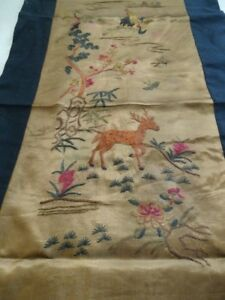 Old Chinese Hand Embroidery Crane Deer