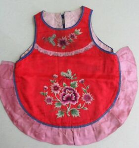 Chinese Old Hand Embroidery Child Costume Bib
