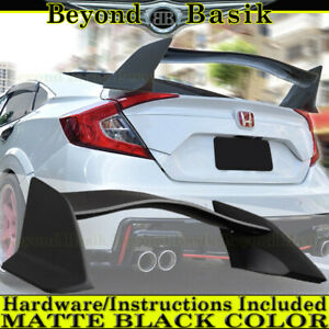 2016 2017 2018 Honda Civic 4dr Sedan Type R Style Spoiler Wing Matte Black