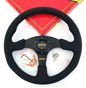 340mm Black Stitch Leather Steering Wheel Flat Momo Racing Omp Drift Nd Rally