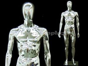 Chrome Plastic Male Egg Head removable Mannequin With Square Glass Base