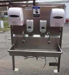 Sani lav 2 Person Hands Free Stainless Steel Sink