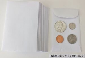 500 New Small 3 X 4 1 2 White Coin Envelopes 7 6x11 4cm coins Not In