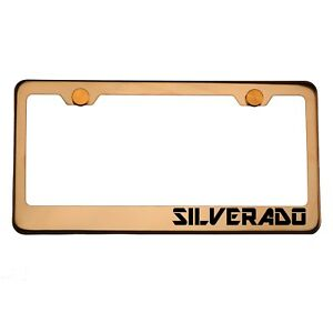 Rose Gold License Plate Frame Silverado Laser Engraved Aluminum Screw Cap