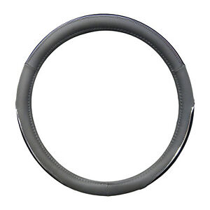 Double Sided Gray And Black W Chrome Edging Steering Wheel Cover 14 5 15 5 Cpr