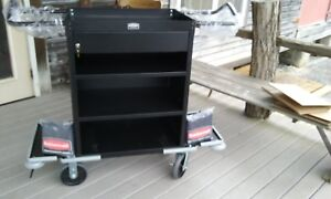 Rubbermaid Executive Deluxe High Capacity Housekeeping Cart With Locking Draw