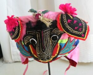 Chinese Old Hand Embroidery Child Ox Hat