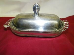 Vintage Butter Dish In Duncan Miller Glass 1847 Rogers Bros Silver Plate Cover