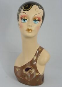 Less Than Perfect 317 Female Mannequin Head Form W Vintage Style Painted Look