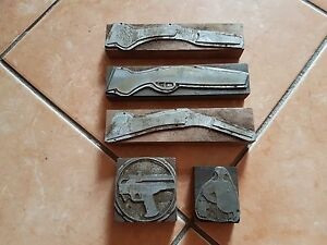 Rare Ancient Lot Wood Letterpress Printing Block 1 Hunting Nice Collection