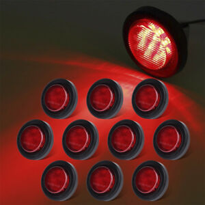 10xred 2 Round 9led Rv Truck Trailer Side Marker Light Clearence Led W grommet