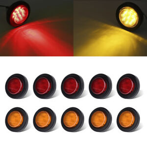 10xred amber 2 9led Truck Trailer Clearence Side Marker Light W Grommet Sealed