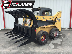 Root Grapple Clamshell Skid Steer Attachment For Debris Removal