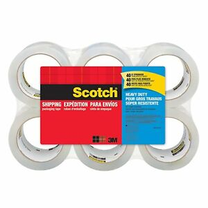 3m Scotch Clear Plastic Mail Packaging Tape Refill 1 88 X 54 6 Yards 6 rolls
