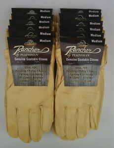 Rancher By Plainsman 12 Pairs Goatskin Leather Wholesale Work Gloves Medium New