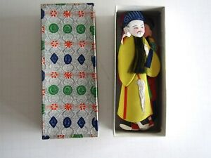 Vintage Chinese Silk Figures With Backing Original Box 5 In All Unusual