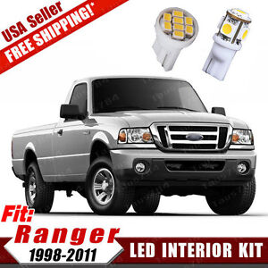 10x White Led Bulb Interior Dome Map Light Package Kit For 1998 2011 Ford Ranger