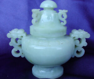 Antique Style Chinese Jade Nephrite Censer Dragon Handles Incense Burner Hetian