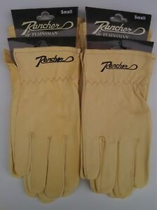 4 Pairs Plainsman Rancher Goatskin Leather Wholesale Work Gloves Small Free Ship