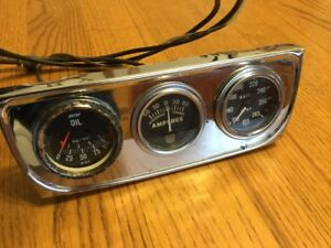 Vintage Gauge Set Of Three With Oil Temp Amps Hot Rod Rat Rod Deuce Steampunk