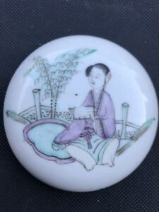 Antique Chinese Porcelain Famille Rose Round Ink Ointment Paste Box