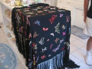 Omg Beautiful Antique Large Black Silk Embroidered Butterflies Piano Shawl Scarf