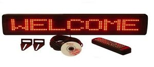 Single Line Red Led Programmable Indoor Display Sign Remote Control 26 x4 New