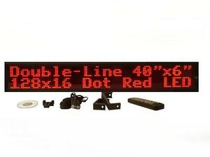 Two Line Indoor Red Led Programmable Display Sign full Package 40 128x16