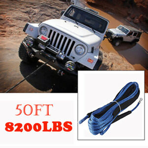 Blue 1 4 X 50 Ft Synthetic Winch Rope Line Cable 8200lbs Capacity Atv Utv Suv