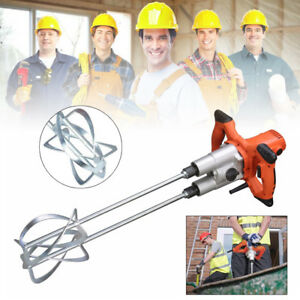 Hand Held Power Mixer Mortar Plaster 1800w Electric Mixer Tool Twin Paddle 1800w