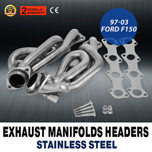 2000 Ford F150 F250 97 03 5 4l V8 Shorty Performance Headers Exhaust Cut