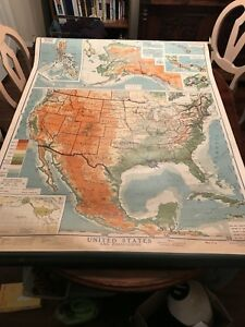 1941 Denoyer Geppert Canvas Pull Down Map Of United States Amazing Color
