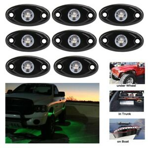 8pcs 9w Green Led Rock Light For Jeep Offroad Truck Under Body Trail Rig Lamp