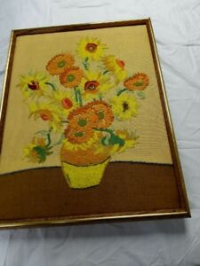 Mid Century Modern Van Gogh Sunflowers Tapestry Vtg Art 60 S Wall Decor Atomic