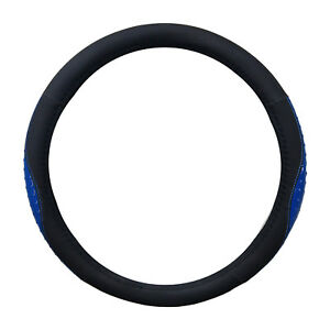 Black And Blue Ostrich Shiny Style Pu Steering Wheel Cover 14 5 15 5 By Cpr