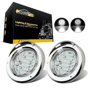 2x40 Led 4 Round Stop Tail Turn Reverse Light Clear White W Chrome Bezels Cover