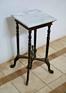 Antique Victorian Mahogany White Marble Top Plant Stand Side Table