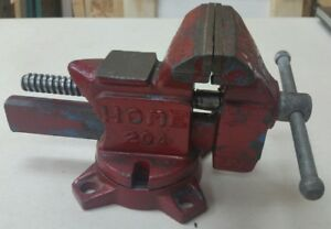 Vintage Home Bench Vise 4 Swivel Base Red Made In Japan