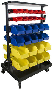 Erie Tools 60 Bin Parts Storage Rack With Locking Wheels Shop Garage Nut Bolt