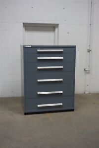 Used Gray Vidmar 6 Drawer Cabinet Industrial Tool Storage 45 Wide 1313