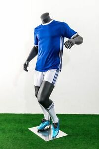 Adult Male Athletic Soccer Player Fiberglass Matte Grey Mannequin With Base