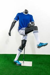 Headless Male Fiberglass Soccer Mannequin Athletic Body In Shooting Pose